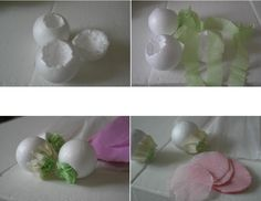 supplies needed small polystyrene balls green, yellow, pink crepe paper scissors glue stick take the polystyrene ball and dig out. Paper Peonies, Crepe Paper Flowers, Fabric Flowers, Handmade Flowers, Diy Flowers, Diy Paper, Paper Crafts, Tissue Paper, Fundraising Events