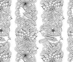 colour in wallpaper via spoonflower floral stripes with birds fabric by vo_aka_virginiao on spoonflower custom fabric - Coloring Book Wallpaper