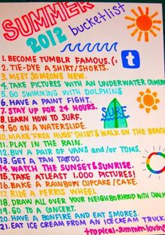 summer bucket list duke I don't agree with. good list nonetheless Summer Fun List, Summer Bucket Lists, Summer Diy, Summer Of Love, Summer Goals, Summer Ideas, Teen Summer, Summer 2014, Fun Ideas