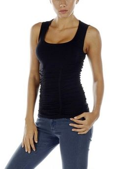 Last Tango Rouched Scoop Neck Black Tank the most versatile must-have piece for every woman!