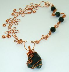 Moss Agate Copper Wire wrapped Pendant on a Wire and Agate Necklace. Sold! Commissions and Bespoke Orders Welcome