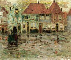 Henri Le Sidaner (French, 1862-1939), Place de L'Écluse, Sluis, 1899. Oil on board, 21 x 25.5cm.