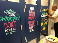 These middle school teachers are going viral for painting powerful art on bathroom stalls ? These middle school teachers are going viral for painting powerful art on bathroom stalls ? Bathroom Mural, Bathroom Stall, Bathroom Graffiti, Bathroom Doors, Bathroom Faucets, School Hallways, School Murals, Middle School Teachers, High School
