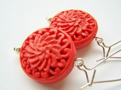 Red Cinnabar Earrings  Scarlet  Carved Asian by polishedtwo, $9.00