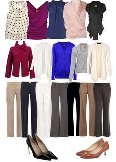 Бизнес- капсула. Если вы не можете отказаться от брюк, но желаете выглядеть женственно. С подобным гардеробом вы всегда будете выглядеть в офисе стильно и уместно.