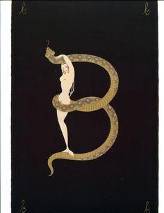 Erte Art Deco Print Book Plate Alphabet Letter B #ArtDeco