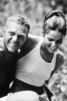 """Steve McQueen and Ali MacGraw.  They began an affair during the make of """"The Getaways,"""" married and divorced after five years.  She introduced Hatha Yoga to the United States."""
