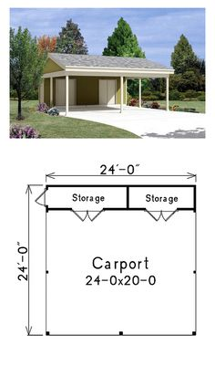 Carport Two Car Garage Plan | Area: 576 sq. ft. #garageplan #carportplan