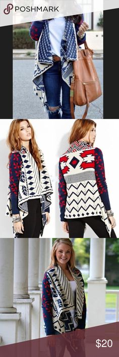 Red Navy and Cream Aztec Cardigan This is a nice, soft heavy weight cardigan. Comes from a smoke free home.  - Size Small - Material: Acrylic - Made by Double Zero - In EUC (no rips, stains or snags) Sweaters Cardigans