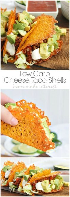 Have a low carb taco night with these cheese taco shells made from baked cheddar cheese formed into the shape of a taco! Stuff your low carb taco with ground chorizo and ground beef cooked in Rotel and topped with diced avocado and sour cream.: