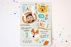 Back To The Jungle Children's Birthday Party Invitations