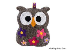 Eule Ursula Flower ITH Stickdatei. So cute! Flower owl. ITH machine embroidery design. Stickdesign Kerstin Bremer