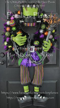 "Pre-Order-Halloween Wreath-""FRANKENSTEIN"" The Munster(SOLD Out for Halloween 2014- See Production time for ""2015"" Delivery)MASSIVE  56"" Tall..."