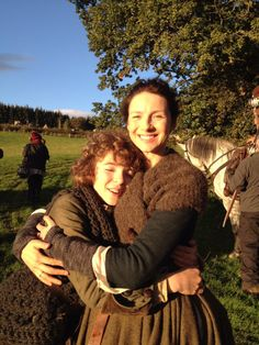 Romann Berrux shares this pic of him with Catriona Balfe. A marvelous behind the scenes pic!