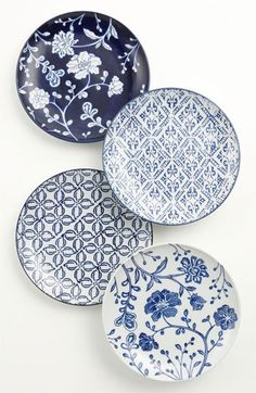 Vagabond Vintage Plates - Blue Print Patterns - Home Deco - Interiors Ceramic Plates, Ceramic Pottery, Ceramic Painting, Ceramic Art, Chinoiserie, Keramik Design, Plates And Bowls, Salad Plates, Blue And White China