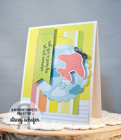 Card by Stacey Schafer for Reverse Confetti - July 2015 #SFYTT. Reverse Confetti stamp set: Here We Go. Confetti Cuts: Here We Go, Sweet Treat Tent, Circles 'n Scallops, and Stitched Flag Trio. Anniversary card. Encouragement card. Friendship card.