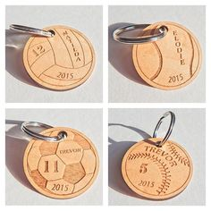 Sports keychains just in time for the holiday stocking stuffers! Show me what you've got I wish I could afford your lasers. Laser Cutter Ideas, Laser Cutter Projects, Cnc Projects, Laser Cut Wood, Laser Cutting, Senior Night Gifts, Wooden Keychain, Acrylic Keychains, Wood Burning Crafts