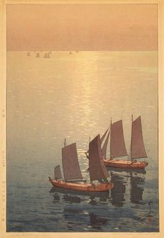 Hiroshi Yoshida, Glittering Sea, 1926, woodblock print.  I think paintings should invoke a strong feeling or emotion in you. This gave me a lonely feeling, with the ringing hint of a past life...