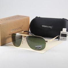 bcb962f7646 2017HD Polarized Sunglasses Sun Glasses Oculos Shelter Gold Frame Green Lens  UV