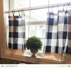 12% Off Till Sunday SALE Plaid Cafe Curtain, Plaid , Buffalo Plaid, Curtains