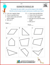Geometry Riddles 5B, geometry puzzles 5th grade