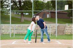Baseball field engagment session - New Philadelphia, Ohio.   Photographer Akron Ohio http://lorenjacksonphotography.com/tuscora-park-engagement-photographer-akron-ohio/