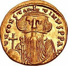 """"""" Gold solidus of Emperor Constans II AD) His coin depiction is one of my favorites from Roman/Byzantine history. Pirate Coins, Coin Art, Gold And Silver Coins, Antique Coins, World Coins, Silk Road, Bronze, Coin Collecting, Ancient History"""