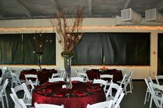 Wedding Decor- Burgundy Linen and Manzanita Tree Centerpiece with Hanging Votives