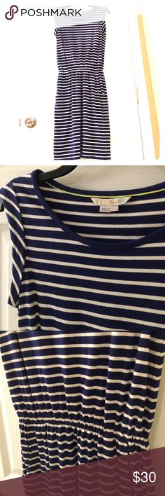 "Boden dress Boden dress - royal blue and cream stripes.  UK 8R, US 4R.  Care tag removed because it was itchy.  Machine washable cotton.  Only worn 3 times.  Has pockets!  Measures 37.5"" from top to bottom.  Cinched waist, flattering for- fitting dress with cap sleeves.  EUC. Boden Dresses"