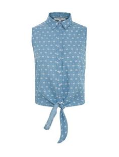 Blue Pattern (Blue) Blue Bow Print Tie Front Sleeveless Denim Shirt  | 278161849 | New Look