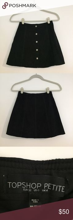 Topshop Petite Suede Button Front A-Line Skirt This skirt from Topshop is gorgeous and such a classic piece! It is a suede, button front skirt that features silver buttons. It is very comfortable and a staple piece. The waist is about a 23/24 and it is not stretchy. Topshop PETITE Skirts Mini