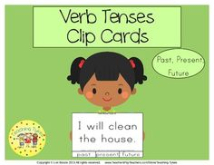 Verb Tenses Clip Cards allow learners to practice/review verb tenses. On each card is a sentence and three answer choices. Learners decide if the verb tense is past, present or future and clip a clothespin to the correct corresponding answer choice. This set of 60 cards provides practice for past, present, and future.  60 Verb Tenses Clip Cards Plus, a recording sheet for students to record their answers along with an answer key for self-checking.