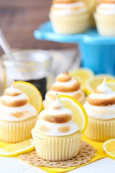Tasty Lemon Meringue Cupcakes with Toasted Meringue Frosting! - - These Lemon Meringue Cupcakes are made with a light lemon cake, lemon curd filling and lightly toasted meringue frosting! It's like Lemon Meringue Pie in cupcake form! Pie Flavors, Cupcake Flavors, Cupcake Recipes, Baking Recipes, Cupcake Cakes, Dessert Recipes, Cup Cakes, Lemon Desserts, Baby Cakes