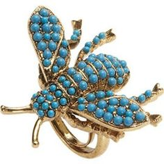 Turquoise and Gold Bee Ring