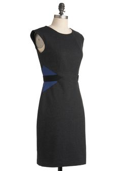 Fiona's Positively Profesh Dress by Max and Cleo - Grey, Blue, Color Block, Party, Work, Urban, Sheath / Shift, Sleeveless, Mid-length