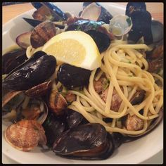 Linguini con Cozze e Vongole Clams and mussels cooked with white wine chilli, lemon and garlic tossed through linguini. Cooking With White Wine, Summer Dishes, Mussels, Clams, Tossed, Garlic, Spaghetti, Lemon, June