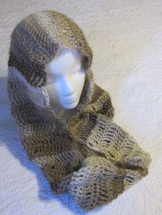 Crochet Cowl or Hooded Scarf made with Red Heart by Kitkateden, $22.00