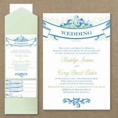Glorious Banners - Pocket Invitation    Choose your colors...YourWeddingGirl.com