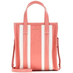 Balenciaga Bazar Shopper XS Striped Leather Shopping Bag (€1.490) ❤ liked on Polyvore featuring bags, handbags, tote bags, pink, red tote, pink leather handbags, pink tote, leather handbags and pink tote bags