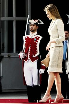 Her Majesty Queen Letizia of Spain views a military parade June 25, 2014.