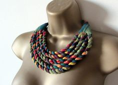 Tribal fabric bib necklace made from red yellow and by Paczula, $40.00