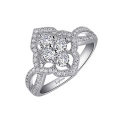 Lafonn Sterling Silver 1.28cttw Floral Halo CZ Ring