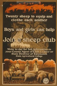 Examples of Propaganda from WW1 | Join a sheep club Twenty sheep to equip and clothe each soldier.