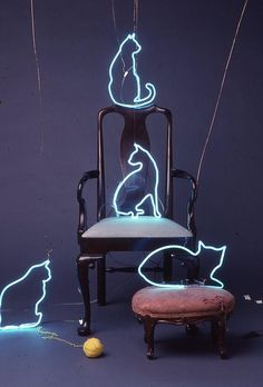 Neon Cats Sculpture by artist Pacifico Palumbo