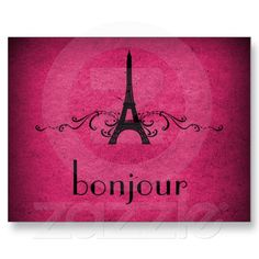Vintage French Flourish Postcard, Pink