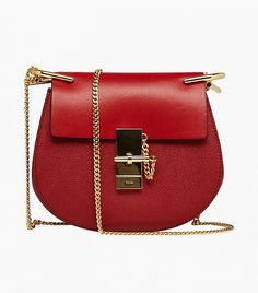 Chloe Drew Saddle Bag in Red // Red bag with gold clasp