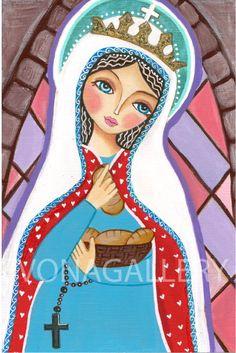 Patron saint of nursing St. Elizabeth of Hungary, Art  Painting, Print  (6x9 inches, 15x23 cm), Mixed Media, Wall Decore by Evona, Szent Erzsébet, Magyarország