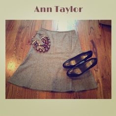 Ann Taylor Skirt This multi colored virgin wool skirt is perfect for the fall and winter months.  Skirt is 24 inches long, flares out at the hem and includes lining. Seaming detail throughout with back zip closure. Pair with thigh high boots, booties, or pumps! (98% virgin wool; 1% Spandex, 1% other fiber) Size 6. Brand new with tags! Ann Taylor Skirts