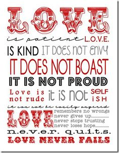 Love - Subway Art - I Corinthians 13 - Free printable