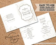 Wedding Program - Frame and Flourish - Tan - DIY Editable Word Template, Instant Download, Printable, Edit your text & Print at Home  $10.00 at www.parkbenchpaperie.etsy.com